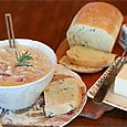 Sherelle's Corn Chowder & Parmesan, Basil, & Rosemary Bread
